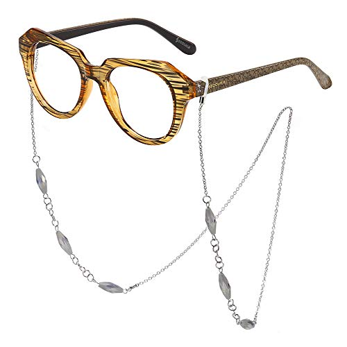 SOOLALA Striped Reading Glass Eyeglass Frame with Necklace Chains Retainer, Tea, 1.25