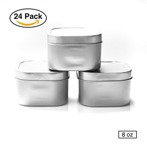 Mimi Pack Tin Can Empty Square Cube Containers for Treats, Gifts, Favors, and Crafts (Silver, 8 oz) (Tin Square Travel)