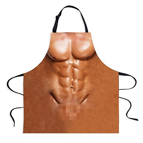 Fivebop Sexy Apron Novelty Naked Men Women Cooking Grilling Naughty Apron Funny Creative Thanksgiving Christmas Gifts (Men 2)