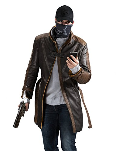 Xfang Men's Aiden Pearce Leather Trench Coat - Mens Brown Distressed Jacket (L)