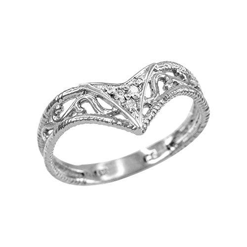 Fine 10k White Gold Filigree Chevron Diamond Ring for Women (Size - Accent Diamond Chevron Ring