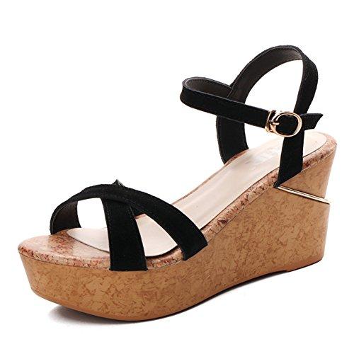 per libero tacco spesse piattaforma il zeppe e donna A per da suole scarpe sandali tempo sandali estivo alto Cuoio 7wFxzqSz