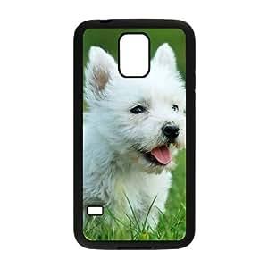 Cute Westie pup Funda Samsung Galaxy S5 Funda Caja del teléfono celular Negro P6U1EO
