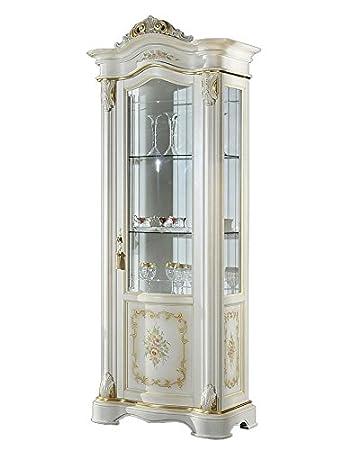 Amazonde Romantische Vitrine 1 Tür Mit Dekoreinlegeböden Aus Glas