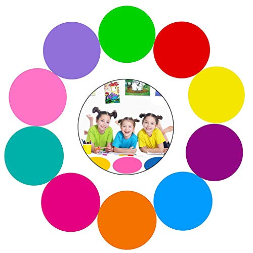 10 PCS Dry Erase Circles, Rainbow Table Spot Circles Dry Erase Dots Decals Wall Pops Removable Vinyl Whiteboard Circle Stickers for Classroom,Office,Tables,Wall,Students,Kids (11.8 inch)