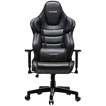 Image of Home and Kitchen Musso Big & Tall Contoured Gaming Chair Adjustable Racing Style Computer Chair with Fully Foam, Premium PU Leather Executive Office Chair with Lumbar Support (Black)