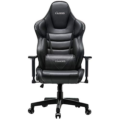 Musso Big & Tall Contoured Gaming Chair Adults Racing Computer Gamer Chair with Fully Foam, Esports Video Game Chair, PU Leather Executive Office Chair with Lumbar Support (Black) (Best Gaming Chairs For Cheap)