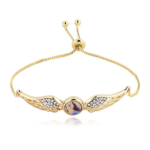PANGRUI Exquisite Design Adjustable Crstal Angel Wings Charm Chain Bracelet with Abalone Shell (Gold)