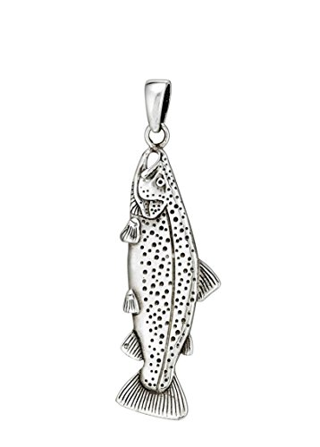 Wild Things Sterling Silver Trout Fish Pendant