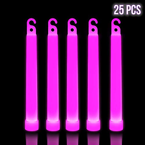 Pink Glow Sticks (Lumistick 6 Inch Premium Glow Sticks | 15mm Thick Flat Bottom Illuminating Glowing Sticks | Waterproof & Non-Toxic Light Up Neon Sticks with Hook for Camping & Hiking (Pink, 25)