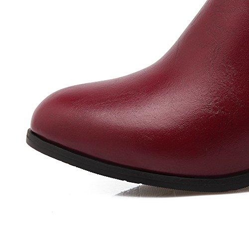 AllhqFashion Mujeres Sólido Tacón Medio Puntera Redonda Pu Sin cordones Botas Rojo