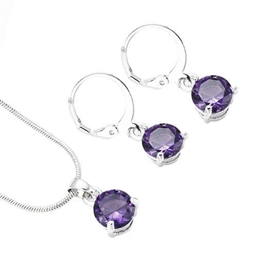 - Women's Necklace Pendant Earring Set,Lavany Vintage Necklaces Long Chain Plated Zircon Round Pendant Earrings Hoop Jewelry Gifts For Women Girls (Purple)