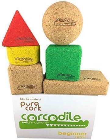 Corcodile - Bloques de construcción sin sustancias nocivas de corcho 100% para niños a partir de 1 año, adecuado para vacaciones en la playa y la piscina, resistente al agua (juego de 6 piezas)