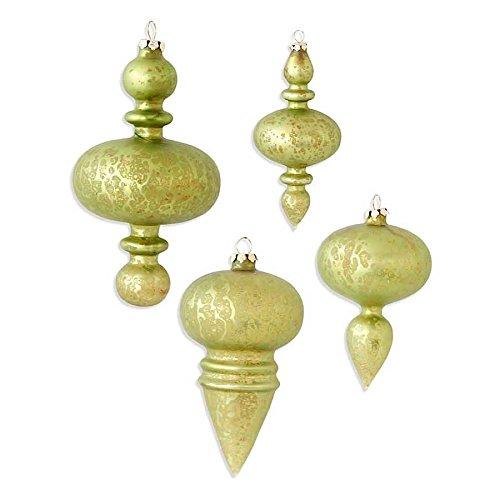 Set of 4 - Mini Lime Green Acid Wash Finial Ornaments (4 Styles)
