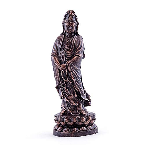 - Top Collection Standing Quan Yin Statue - Enlightened Kwan Yin Goddess of Mercy and Compassion Hand Painted Sculpture with Bronze Finish Look- 5.75-Inch Collectible East Asian Praying Buddha Figurine