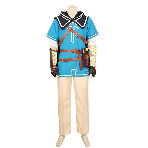 [MiDiCosplay The Legend of Zelda Breath of the Wild Link Cosplay Costume Full Set] (Cosplay Costume Zelda)