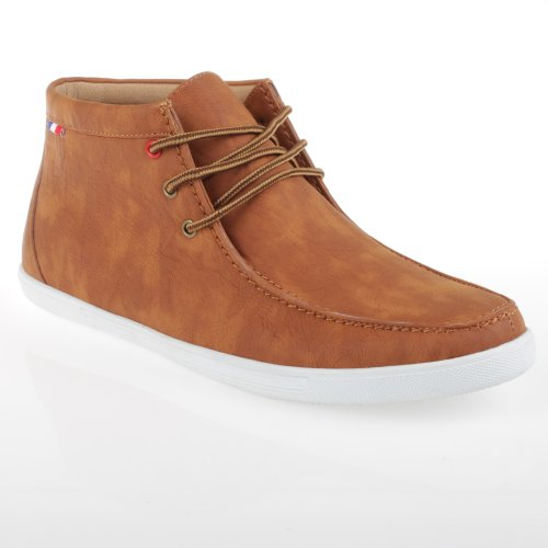 Arider BILLY-01 Men's Faux Leather High-Top Casual Shoes - Tan-8.5
