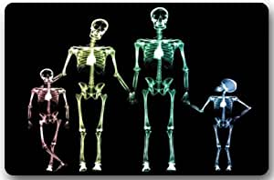 "Casa modas rectangular lavable a máquina antideslizante barco esqueleto humano serie sistema de esqueleto esqueleto humano pintura de rayos X doormat-23.6X 15.7""Welcome Felpudo"