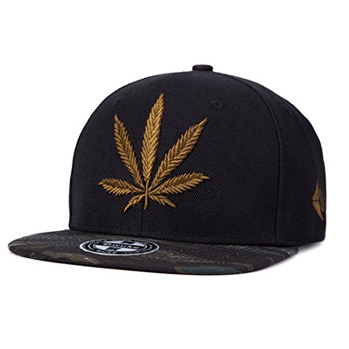 - King Star Men Women Leaf Weed Snapback Cannabis Embroidered Flat Bill Baseball Cap Hat Black