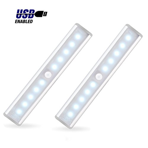JEBSENS - T05 LED Under Cabinet Lighting, Rechargeable Battery Operated Closet Light with Motion Sensor, Stick on anywhere, Wireless On/Off/Auto Switch, Cool White (2 Pack)