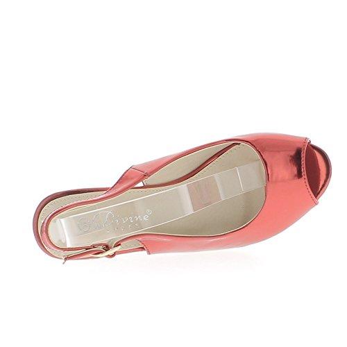 ChaussMoi Sandales Femme Compensées Rouges Métallisées à Talons DE 10,5cm