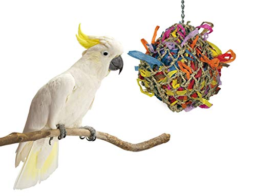 Sweet Feet and Beak Bird Toys Super Shredder Ball - Keeps Your Pet Bird Busy for Weeks Foraging for Hidden Treasures - Non-Toxic - Easy to Install - for Medium Sized Birds - 5 inch Diameter -