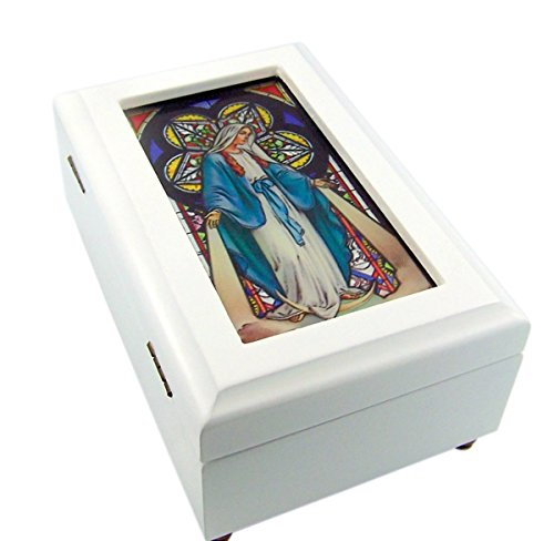 Catholic Religious Our Lady of Grace Stained Glass White Wood Musical Jewelry Box, 6 1/2 Inch - Music Box Stained Glass