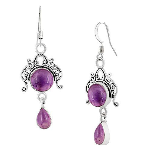 (Genuine Amethyst 925 Sterling Silver Overlay Handmade Fashion Earrings Jewelry)