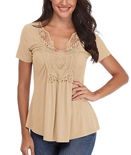 Sexy Shirts for Women V Neck Peasant Blouse Short Sleeve Ruched Front Crocheted Lace Neckline Tops Light Apricot
