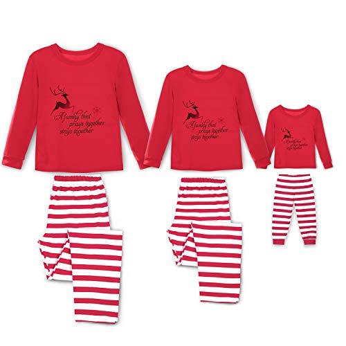 Family Matching Christmas Pajama Set Xmas Pyjamas Sleepwear Pjs Cotton Stripe (Kids 9/10Y) - Stripe Pyjama Set