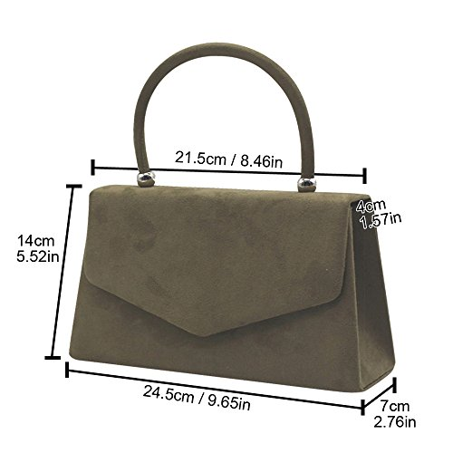 Purse Leather Various Party Clutch Color Tote Handbag Lady Hot Handle Wiwsi Bag Suede HW0ggq