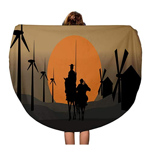 Semtomn 60 Inches Round Beach Towel Blanket Silhouette of Don Quixote De La Mancha Cervantes Spanish Travel Circle Circular Towels Mat Tapestry Beach Throw