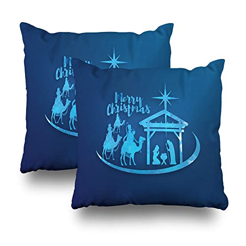 """Darkchocl Set of 2 Daily Decoration Throw Pillow Covers Birth Christ Baby Jesus Bear Gifts Square Pillowcase Cushion Couch Sofa Bed Modern Quality Design Cotton Polyester 18"""" x 18"""""""