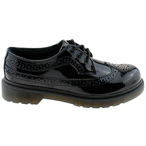 Dr. Martens Girls Kids 3989 J Black Patent Lamper Leather Brogue Shoes 23757001-UK 13 (EU 32)