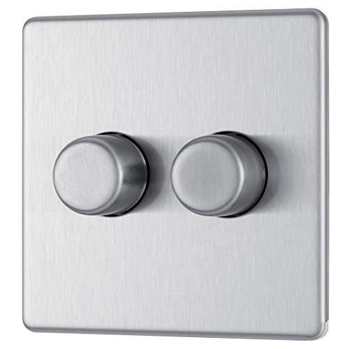 BG Electrical FBS82P-01 Screwless Flat Plate 400W 2 Gang 2 Way Push Dimmer Switch, 400 W, Brushed Steel