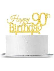 INNORU Happy 90th Birthday Cake Topper - Gold 90th Birthday Party Decoration Supplies