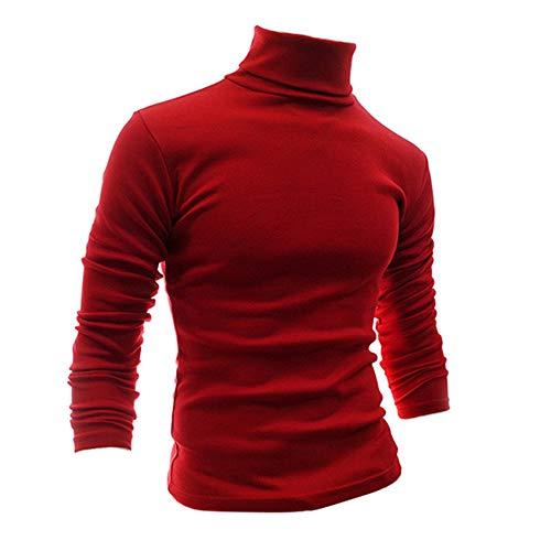 (Romantiko Mens Slim Fit Long Sleeve Light Turtleneck Pullover T Shirt Top Blouse Red XXL)