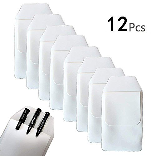 TKOnline 12 Pcs White Classical Heavy Duty Pocket Protectors for Pen Leaks School Hospital Office Supplies ()