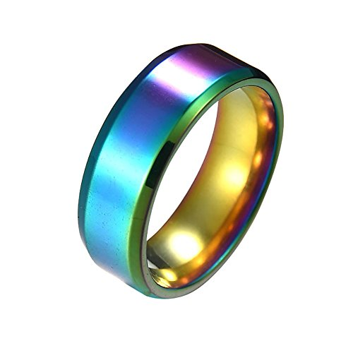 Wintefei Fashion Simple Unisex Lovers Stainless Steel Mirror Finger Rings Jewelry Gifts - Colorful US 12
