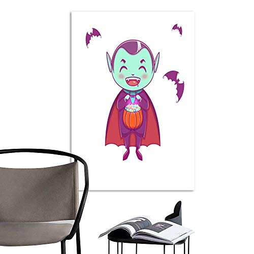UHOO Linen Art Prints PicturesHalloween Little Vampire Dracula Boy Kid with Smiling face in Halloween Costume with Pumpkin in his Hands .jpg Wall Art for Bedroom Living Room 16