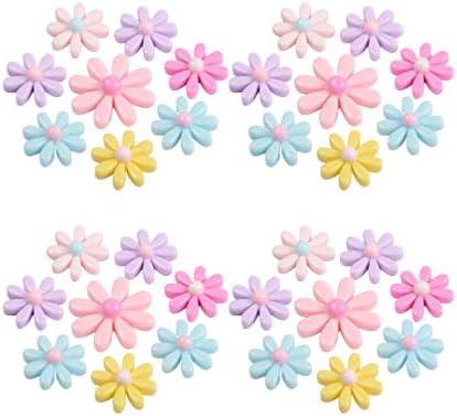 HEALLILY 60ピースdiyフラットバックひまわり花樹脂フラットバック装飾ビーズアクセサリー用diyスクラップブッキングジ