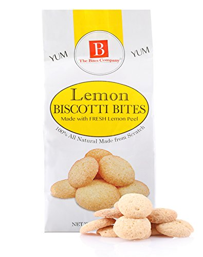 B THE BITES COMPANY Biscotti Bite Size Cookies - Premium, All Natural, Kosher, Peanut and Preservative Free - 4.5 Oz. bag Lemon Flavor (Pack of 3)