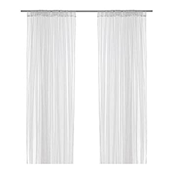 Delightful Ikea Mesh Lace Curtains, 98 Inch By 110 Inch, 2 Pairs, White