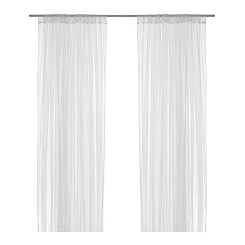 Ikea Mesh Lace Curtains, 98 Inch By 110 Inch, 2 Pairs, White