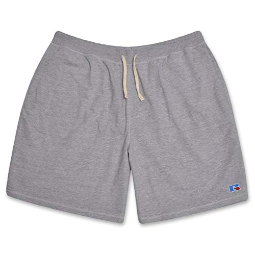 - Russell Big and Tall Mens French Terry Athletic Shorts with Heritage R Embriodered Logo Heathergrey 3X