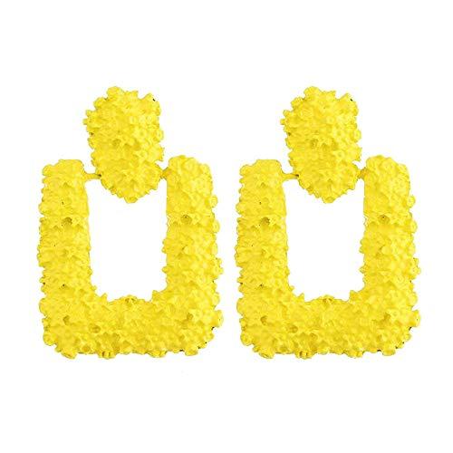 (Geometric Rectangular Embossed Metal Retro Trend Ladies Earrings Pendant Jewelry Gifts (Yellow))