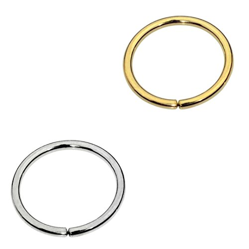 Sampson Nose Ring Hoop - One Pair - Tragus Cartilage Helix Earring - One Sterling Silver One 14K Yellow Gold Filled- 20 Gauge 7mm Inner Diameter by Sampson