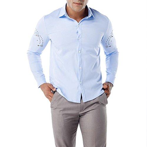 kaifongfu Shirt for Men,Tops Long Sleeve with Arm Hollow Lapel Shirt for Men Blouse (Blue,L)
