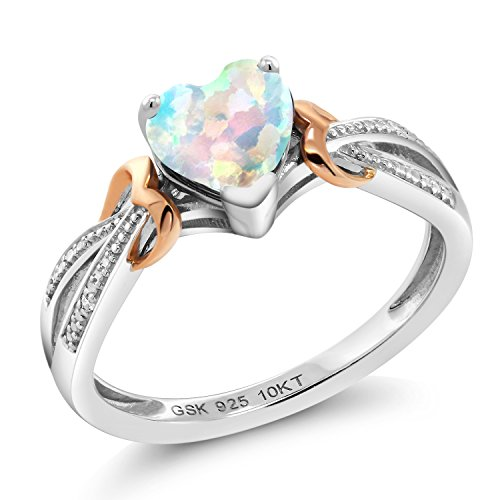 Gem Stone King 925 Silver & 10K Rose Gold 0.76 Ct Heart Shape Simulated Opal Diamond Ring (Size 7)