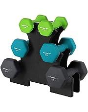 SONGMICS Hex halterset met standaard - 2 x 1 kg, 2 x 2 kg, 2 x 3 kg, neopreen, matte afwerking, fitness-gewichtsoefeningen voor thuis